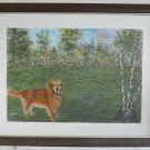 Vintage Original Folk Art Naive Painting Golden Retreiver Dog Field Upland Wood