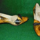 Vintage 60s NOS DEADSTOCK Johansen Marbelized Shoes Pumps Leather Frog 7.5 AAAA