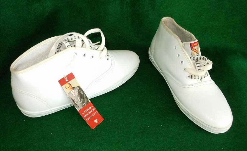 High Top White Leather Sneakers NEW with Tag NWT Vintage 80s Paolo Gucci  Shoes
