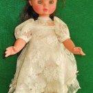 """Vintage Furga 17"""" Walking Doll Lace Dress Long Black Hair Opening Blue Eyes"""