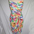 Vintage 80s Bustier Corset Gown Victor Costa Dress  Boned Watercolor Print NOS 8