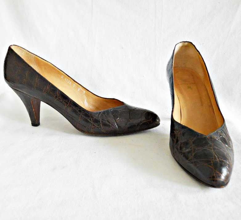 Ralph Lauren Vintage 70s Pumps Croc Effect Low Cut Pointy Toe Shoes Brown  9B