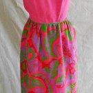 Wasp Waist Maxi Dress Cut Out Halter Dress Vintage 60s Pink Print Nos CRAIG 9