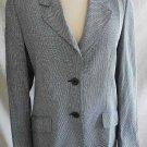 NOS Blazer Trophy Jacket Zanella Wool Black Print Strong Shoulder Vintage 90s 4