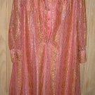 Caftan Maxi Sheer Dress Vintage Pink Gossamer 60s NOS Gilda Rio Metallic Flowy