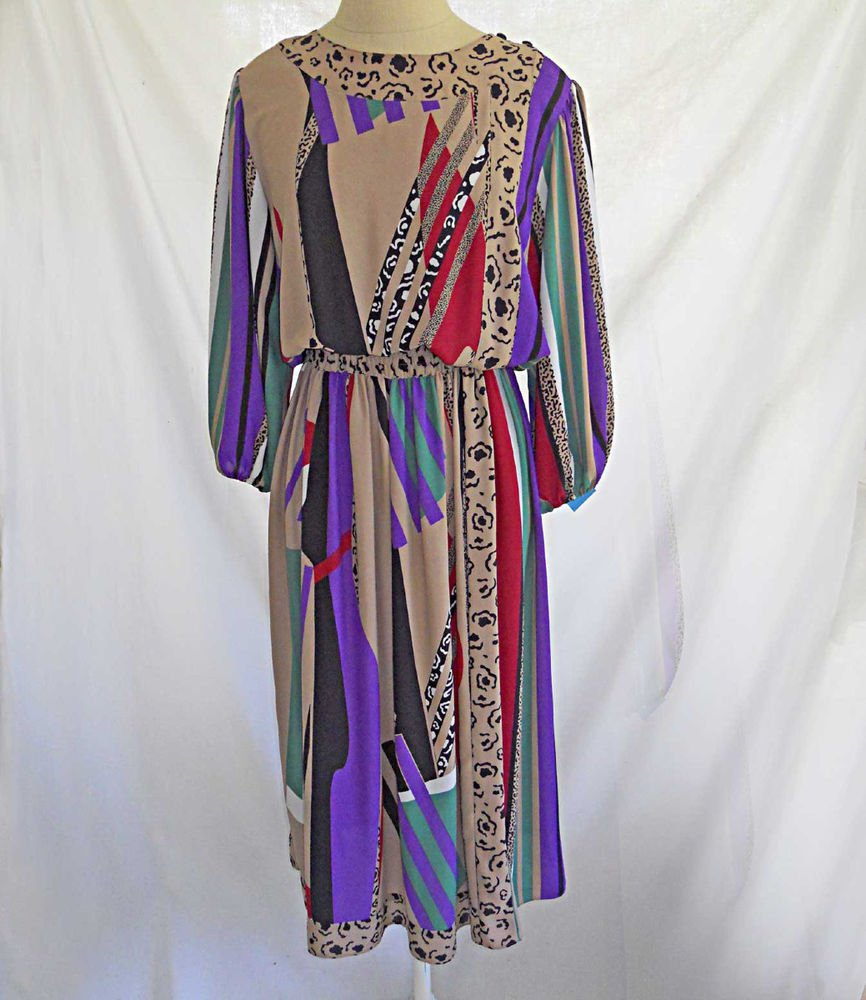 Diane Freis Dress Vintage Deadstock Cubist Moderne Print Georgette Muted Maxi