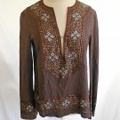 Tory Burch Tunic Top Blouse Sequin Cotton Brown Deadstock Nos Bell Sleeve Size 2