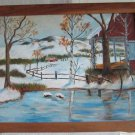 Folk Art Snow Winter Landscape Painting Phillips New England Vintage Amherst MA