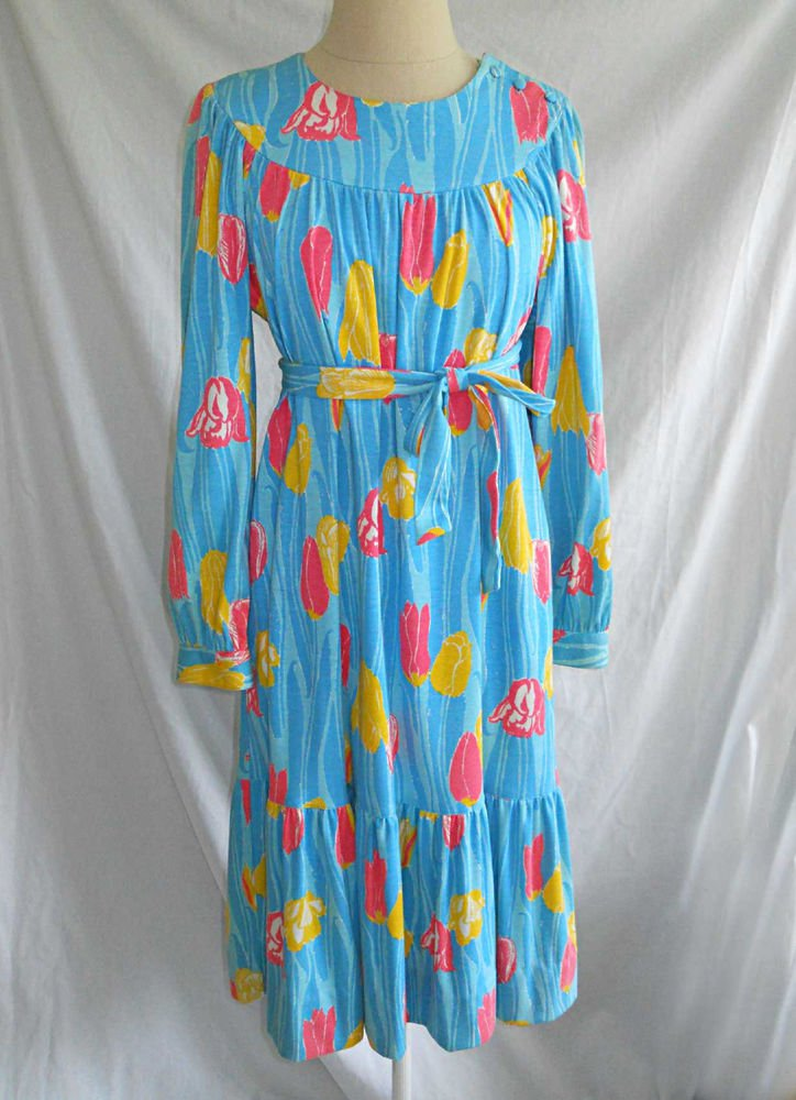 Vintage The Lilly Pulitzer Maxi Dress Deadstock Shift Long Sleeve Ruffle Belt S