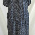 Eileen Fisher Pants Set Wide Leg Flowy Cropped Camp Shirt Navy Blue Plaid S M