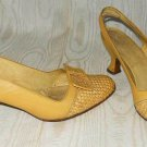 Vintage 60s Amalfi Straw/Raffia & Leather Bow Slingback Shoes 5 Mixed Material