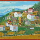 Folk Art Vintage Painting Colorado Rocky Mountain Town Landscape Naive D Miller