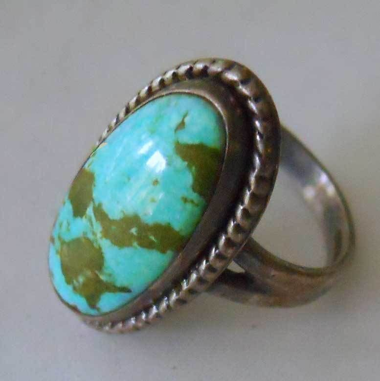 "Sterling Handcrafted Turquoise Ring Huge Stone 3/4"" Signed x Arrow Vintage Mod 6"