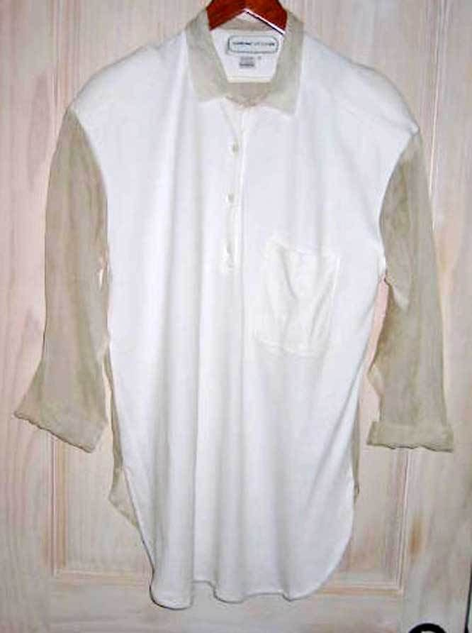 Sheer Sleeve Blouse Adrienne Vittadini Pointed Shoulder Tunic Tulle Top S NOS