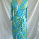 Sherrie Bloom Wrap Dress Chetta B Silk Print Deadstock Nos Vintage Turquoise 8