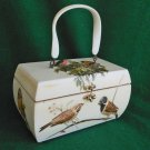 Vintage 50s Box Bag Handbag Purse Naturalist Birds Nest Ornithology 3D Huge NOS
