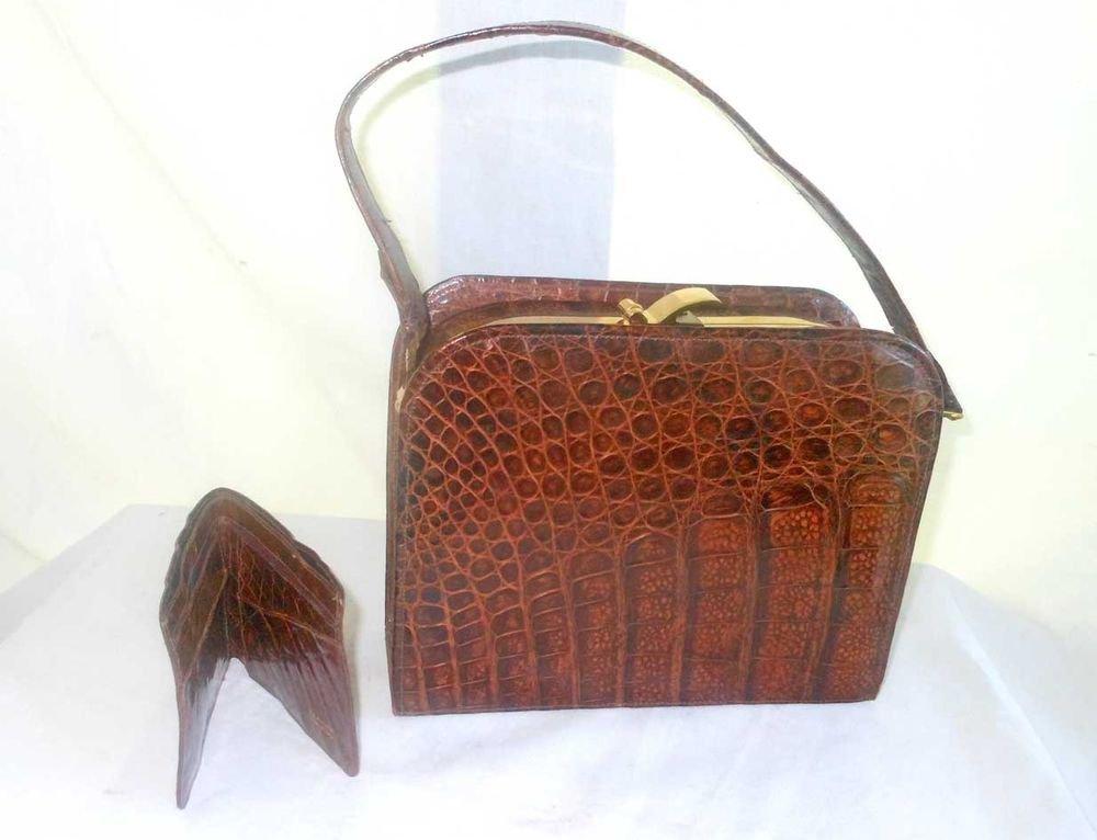 Vintage 50s Genuine Alligator Handbag Purse Top Opening Structured Wallet NOS