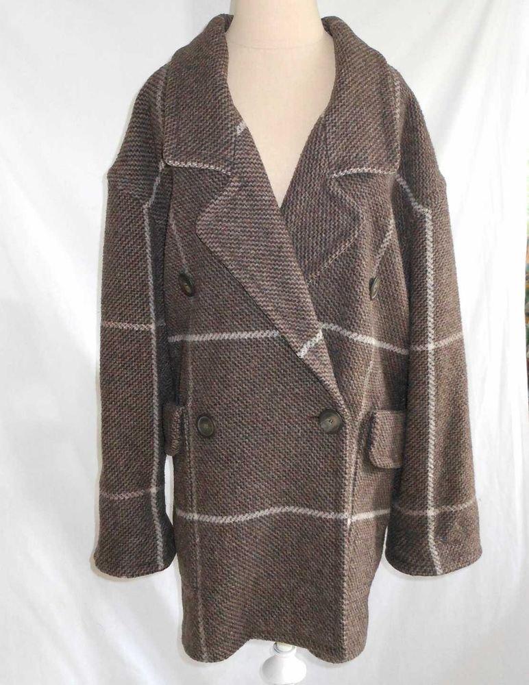 Vintage 70s Oversize Coat Jacket Mondi Slouchy Soft Tweed Belted Back Wool 36