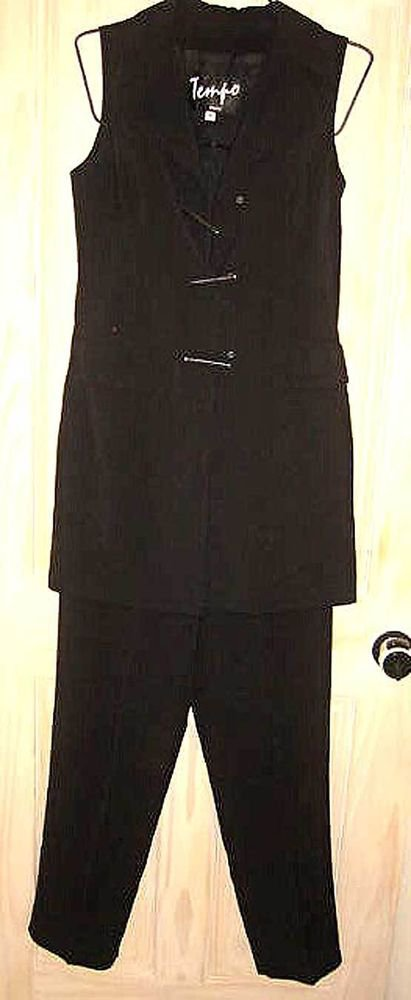 Nos Tempo Paris Black Minimalist Sleeveless Tunic Jacket Vest Pants Set 8 10