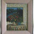 Dale Nord Painting Trompe L'oeil Vintage Modernist Flowers Plant Window Scene