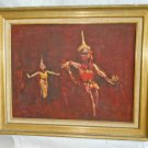 Modernist Vintage Oil Painting Gordon Napp Bali Traditional Balinese Dancers