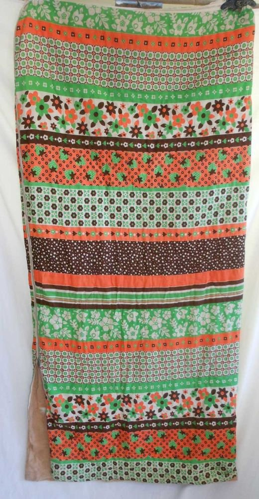 Sleeping Bag Vintage 50s Modernist Mid Century Mixed Floral Orange Green Camping