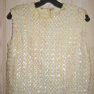 Sequin Corset Top Camisole Evening Vintage 50s Blouse Luminious Bust 40""
