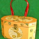 Vintage 50s Wood Box Bag Handbag Annie Laurie Palm Beach World Map Atlas 3D