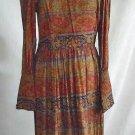 Dress Vintage 60s Deadstock Nos Paisley Cossack Maxi Morton Myles High Collar 14