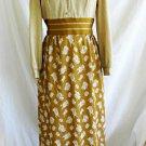 Vintage 60s Maxi Dress Evening Gown  Gold Metallic Mixed Print Saks