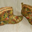 Boots Vintage 60s Go Go  Floral Curved Booties Metallic Print Brocade Low Mod