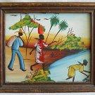 Haitian Painting Vintage 60s Signed Haiti Barefoot Man Women Landscape Framed