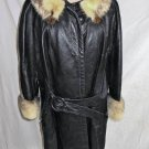 Black Leather Coat Vintage 60s A Line Front Buckle Belt Mink Fur Collar Cuffs