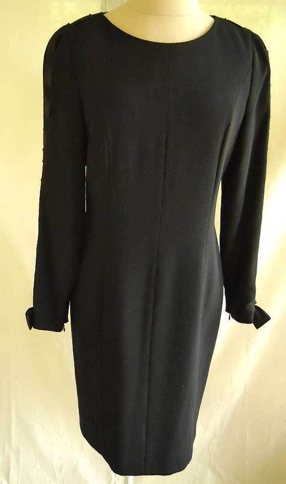 Sheath Wiggle NOS Vintage 70s Louis Feraud Dress Corset Ribbon Laced Sleeve