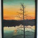 Trumansburg New York Moderne Landscape Gothic Oil Painting H.Hall Sunset Eerie