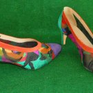Vintage 60s Pazzo Embroidered Floral Mesh  Suede Cap Toe Shoes Pump 5.5M