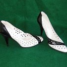 Vintage Charles Jourdan Pumps Perforated Black White Pointy Stiletto Shoes 4.5B