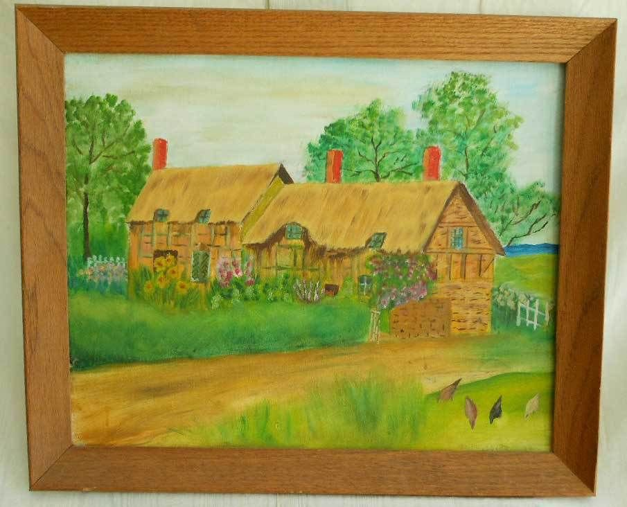 Amherst Mass Vintage 70s Plein Naive Painting Phillips Farm Spring New England
