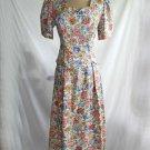 Lanz Dress Maxi Vintage 70s Peplum Floral Print Scallop Overblouse Pleats Nos 8