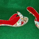 Floral Print Sandals Vintage Cacharel 60s Sexy Kitten Mules Peep Toe Bow 36