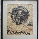 Vintage Drawing Pen Ink Castle Pegasus Mythology Archer Spirit Framed Signed JM