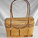 Straw Vintage Handbag Bag Purse Woven Top Handles Structured Boho Mister Ernest