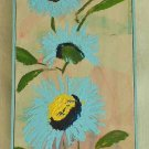 Vintage 80s Shirley Black Oil Painting Floral Blue Sunflowers Panel Framed