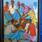 Haitian Painting Vintage Original Signed Voodoo Ritual M Guerre Cockfight Framed
