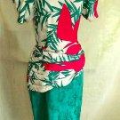 FLORA KUNG Dress Vintage 80s Deadstock NOS Silk Print Sarong Dropped Waist 4