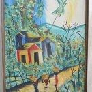 Impressionist Vintage Chenet-Ry Original Haitian Oil Painting Tropical Folk Art