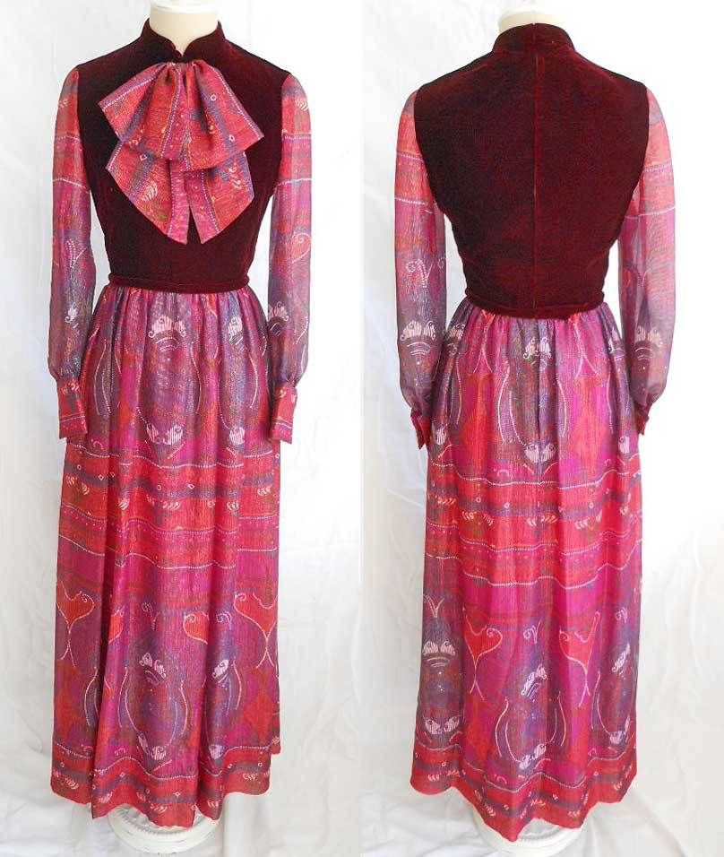 Adele Simpson Evening Gown Dress Deadstock Vintage 60s Metallic Paisley Velvet