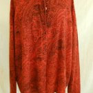ANGORA Tally Ho Sweater 3X Vintage 70s Orange Paisley Cardigan Tunic Deadstock