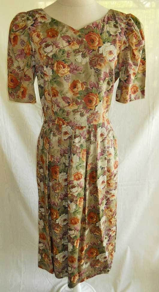 NOS Vintage 80s Lanz Pleat Puff Shoulder Dark Floral Maxi Dress 10 Fit and Flare