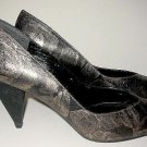 NOS Stuart Weitzman Unworn Metallic Silver Lace Leather Shoes CONE HEEL 8.5 B